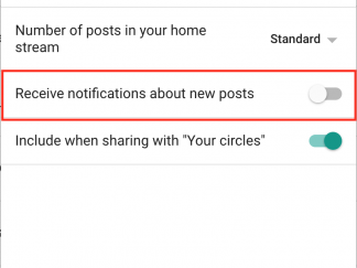 Google Plus notifiche cerchie