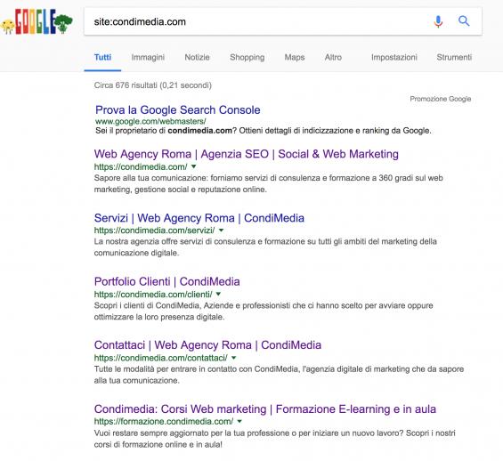 google ricerca site