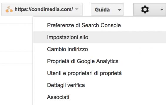 google search console impostazioni sito