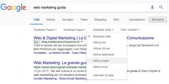 ricerca google strumenti