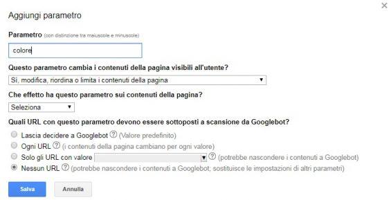 google search console aggiungi parametro