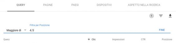 google search console filtro posizione