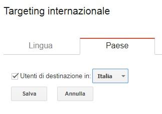 google search console paese utenti target