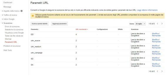 google search console parametri url