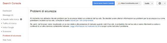 google search console problemi sicurezza