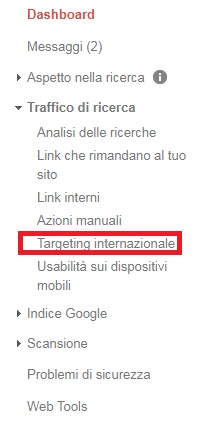 google search console targeting internazionale