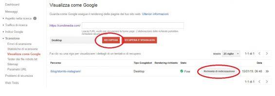 google search console visualizza come google